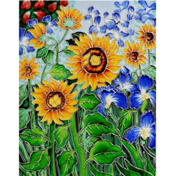 Van Gogh Sunflower and Irises Ceramic Wall Tile