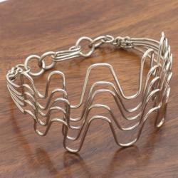 Silverplated Copper Wave Bracelet (Kenya)