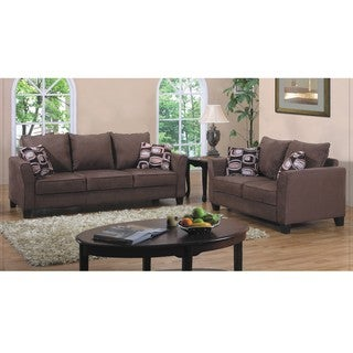 Sale !!!Fountain Valley Dark Brown Microfiber Sofa and Love Seat Set ...