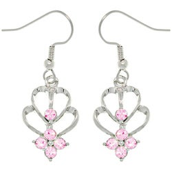 CGC Silvertone Abstract Hearts Pink Crystal Earrings