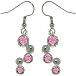 CGC Silvertone Pink Cubic Zirconia Earrings