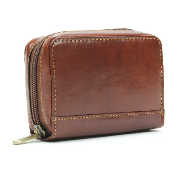 Tony Perotti Handmade Italico Zip-around Italian Leather Accordion Credit Card Holder
