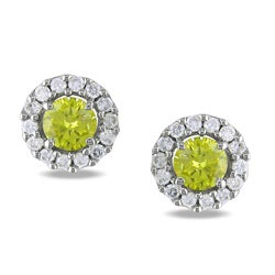 Miadora 14k White Gold 3/4ct TDW Yellow and White Diamond Halo Earrings(G-H, I1)