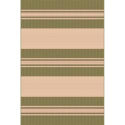 Woven Striped Green Rug (4'11 x 7'6)