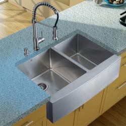 Vigo Farmhouse Stainless Steel Kitchen Sink/ Faucet/ Dispenser
