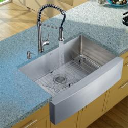 Vigo Farmhouse Stainless Steel Kitchen Sink/ Faucet/ Dispenser/ Grid
