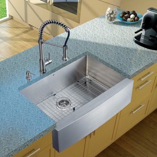 VIGO Farmhouse Stainless Steel Kitchen Sink/ Faucet/ Dispenser/ Grid
