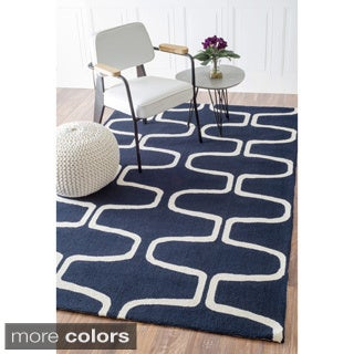Abstract Hand-hooked Alexa Moroccan Trellis Wool Rug (7'6 x 9'6)