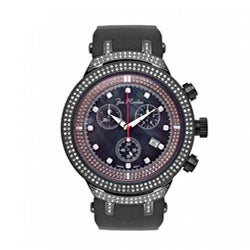 Joe Rodeo Men's Black 'Master' Diamond Watch 2.2 Carats with Three Subdials