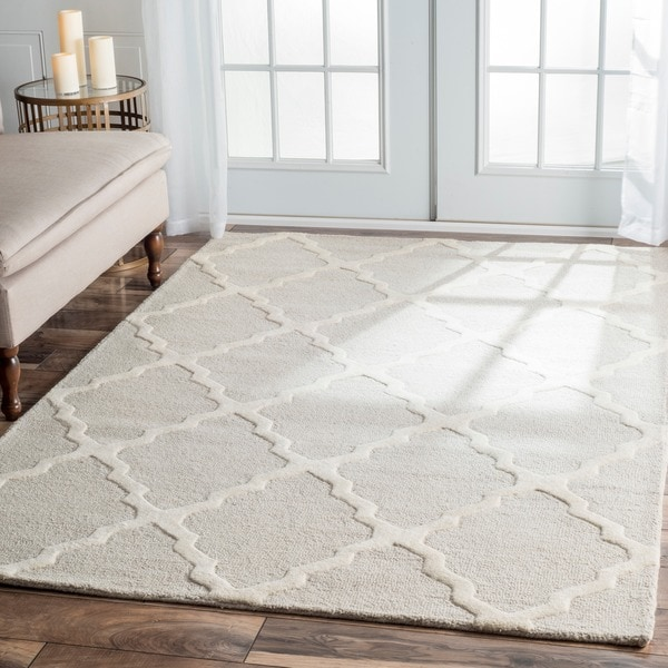 nuLOOM Hand-hooked Alexa Moroccan Trellis Wool Rug (7'6 x 9'6)