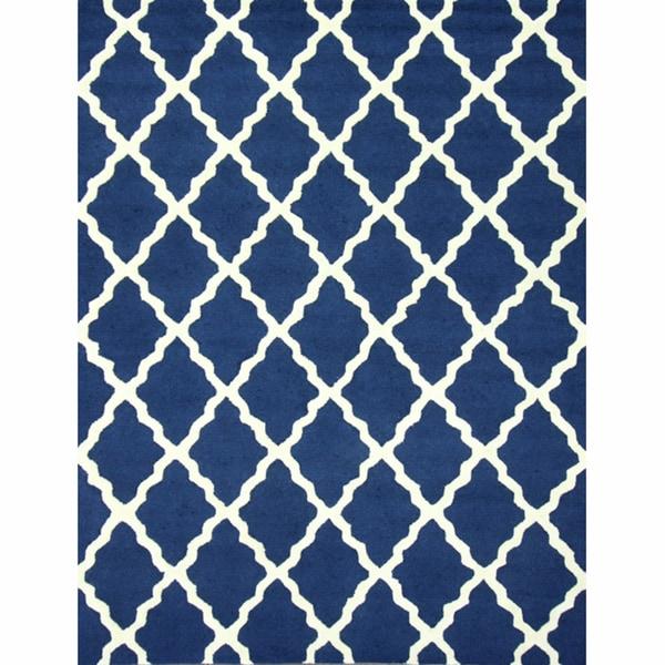 nuLOOM Handmade Moroccan Lattice Navy Wool Rug (5' x 8')