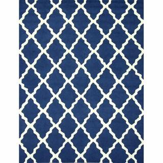 nuLOOM Handmade Moroccan Lattice Navy Wool Rug (7'6 x 9'6)