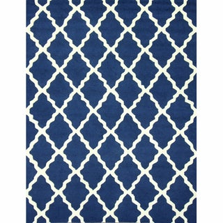 Handmade Moroccan Lattice Navy Wool Rug (7&#39;6 x 9&#39;6)