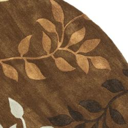 Safavieh Contemporary Handmade Soho Brown/Multi New Zealand Wool Rug (6' Round)