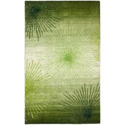 Handmade Soho Burst Green New Zealand Wool Rug (7'6 x 9'6)
