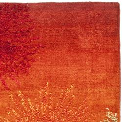 Handmade Soho Burst Rust New Zealand Wool Runner (2'6 x 8')