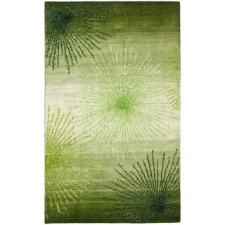 Handmade Soho Burst Green New Zealand Wool Rug (5'x 8')