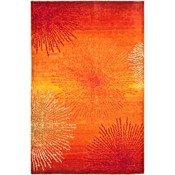 Handmade Soho Burst Rust New Zealand Wool Rug (3'6 x 5'6')