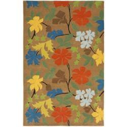 Handmade Soho Brown Floral New Zealand Wool Rug (3'6 x 5'6')