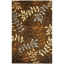 Handmade Soho Brown/Multi New Zealand Wool Floral Rug (3'6