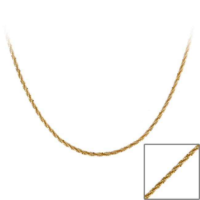 Mondevio Two-tone Sterling Silver Diamond-cut 24-inch Italian Chain