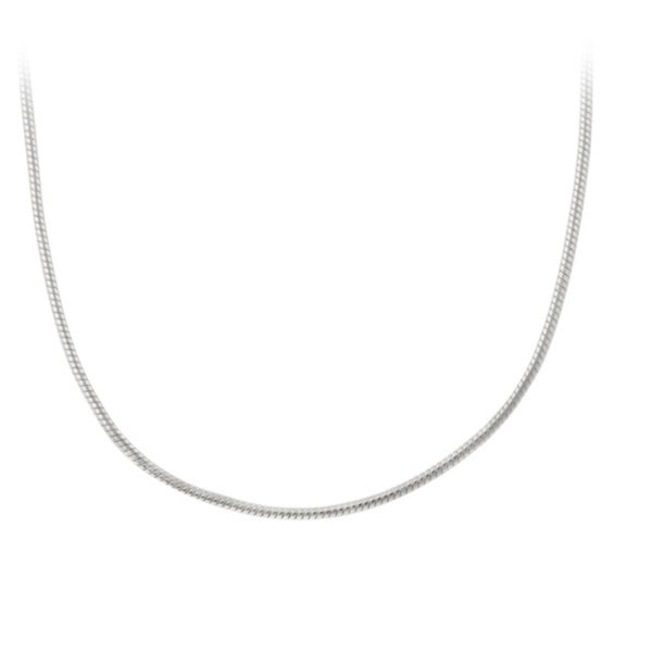 Mondevio Sterling Silver Round 18-inch Italian Snake Chain Necklace