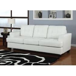 Diamond White Bonded Leather Sleeper Sofa
