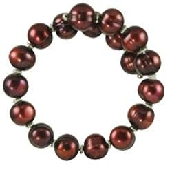Pearls for You Silver Cranberry Freshwater Pearl Bangle Bracelet (10-11 mm)