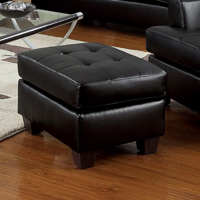 Black Bonded Leather Ottoman