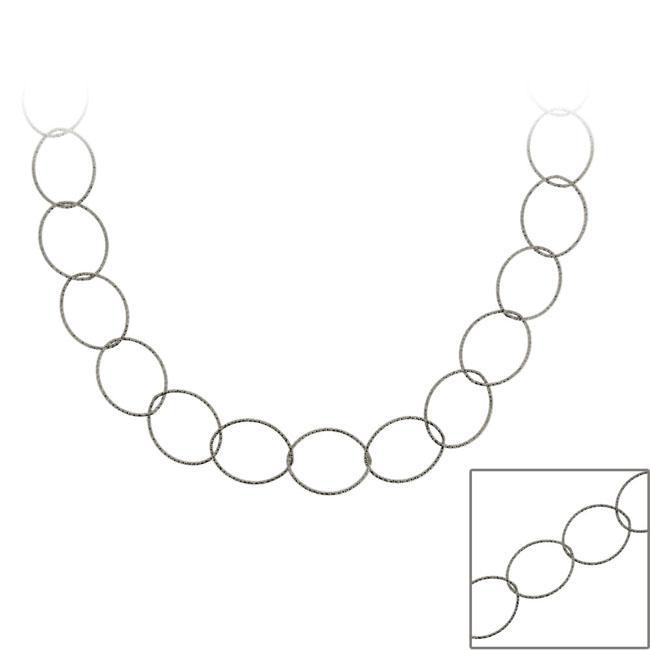 Mondevio Black Rhodium over Sterling Silver 24-inch Italian Loop Necklace
