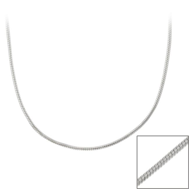 Mondevio Sterling Silver Round 24-inch Italian Snake Chain Necklace