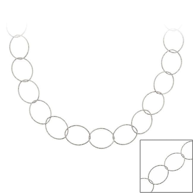 Mondevio Sterling Silver 36-inch Italian Intertwined Loop Chain