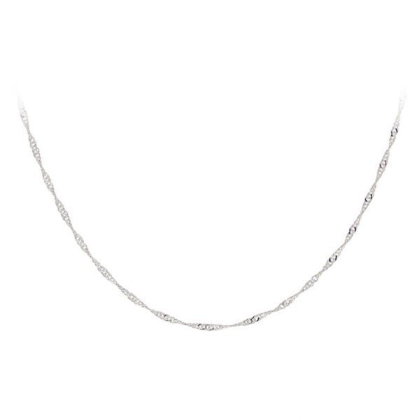 Mondevio Sterling Silver 24-inch Italian Singapore Chain Necklace