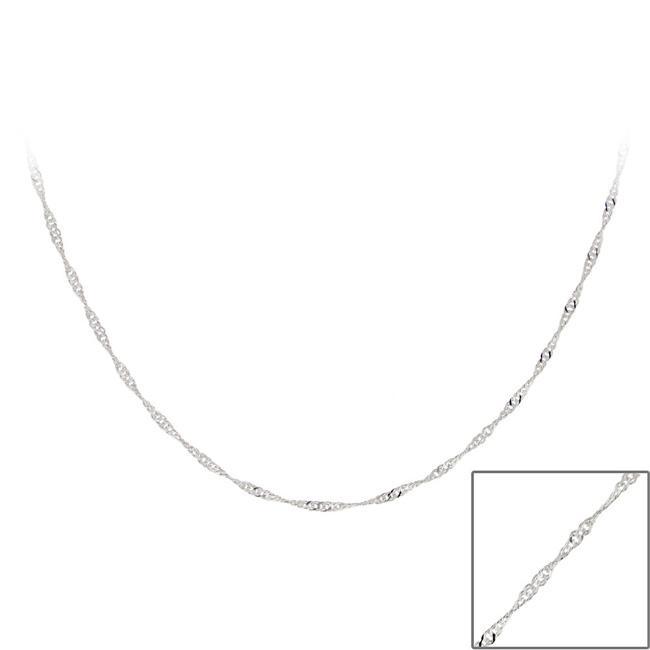 Mondevio Sterling Silver 18-inch Italian Singapore Chain Necklace