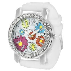 Geneva Platinum Women's Rhinestone White Silicone Watch