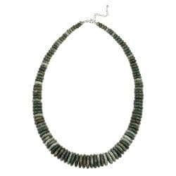 Glitzy Rocks Sterling Silver Green Jasper 24-inch Necklace
