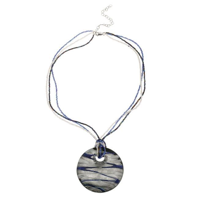 Glitzy Rocks Silver Blue, White and Grey Glass Disc Necklace