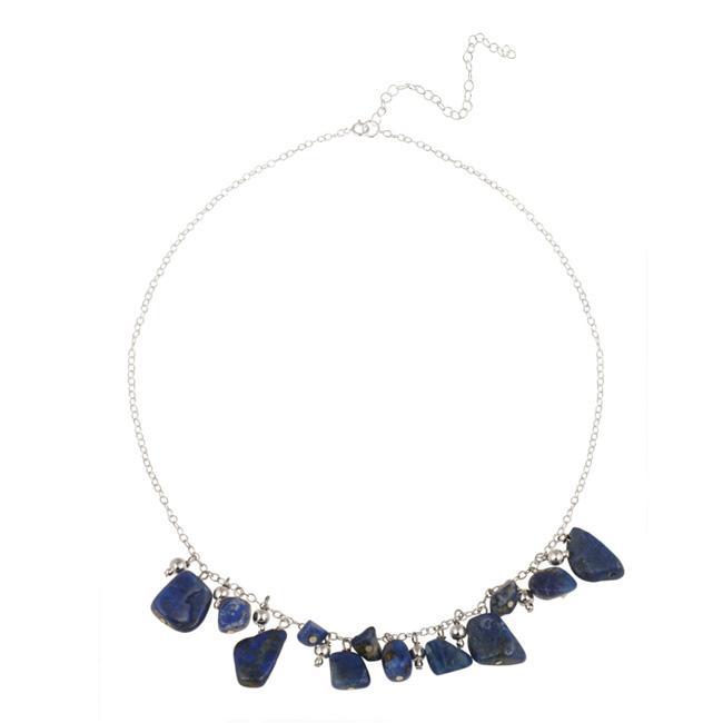 Glitzy Rocks Sterling Silver Lapis Necklace