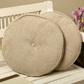 Liquid Chenille Feather and Down Round Throw Pillows (Set of 2)