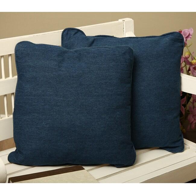Denim Square Throw Pillows (Set of 2)
