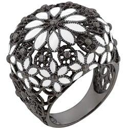 Kate Bissett Black Rhodium and White Enamel Cubic Zirconia Ring