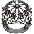 Kate Bissett Black Rhodium and White Enamel Cubic Zirconia Ring