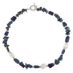 Glitzy Rocks Sterling Silver Lapis and Crystal Necklace