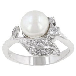 Kate Bissett Silvertone Faux Pearl and Cubic Zirconia Antique-style Ring