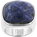 Kate Bissett Silvertone Created Sodalite Cocktail Ring