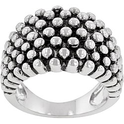 Kate Bissett Silvertone Beaded Cocktail Ring