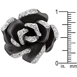 Kate Bissett Silvertone and Enamel Cubic Zirconia Flower Cocktail Ring