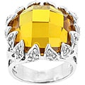 Kate Bissett Silvertone, Yellow, and Clear Cubic Zirconia Women's Cocktail Ring