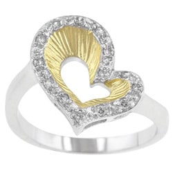 Kate Bissett Two-tone Clear Cubic Zirconia Heart Cocktail Ring