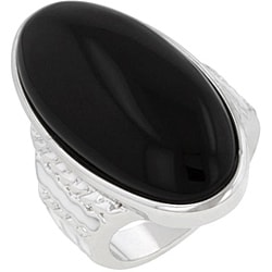 Kate Bissett Silvertone Created Onyx Cocktail Ring